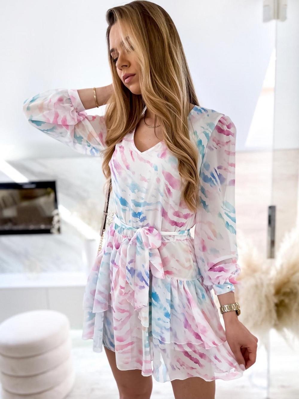 Różowo-niebieska pastelowa zeberkowa sukienka szyfonowa rozkloszowana Virgo 3