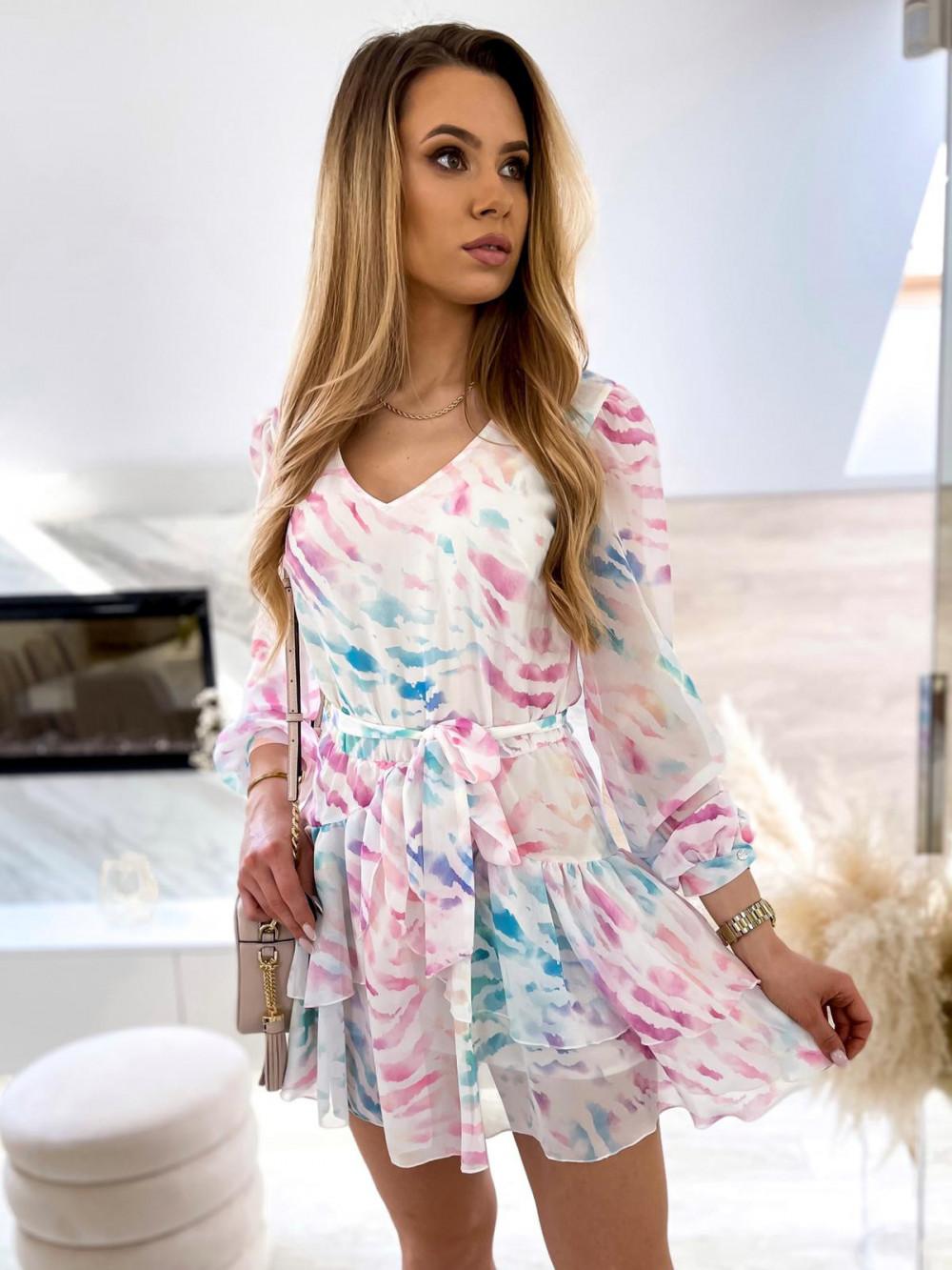 Różowo-niebieska pastelowa zeberkowa sukienka szyfonowa rozkloszowana Virgo 1