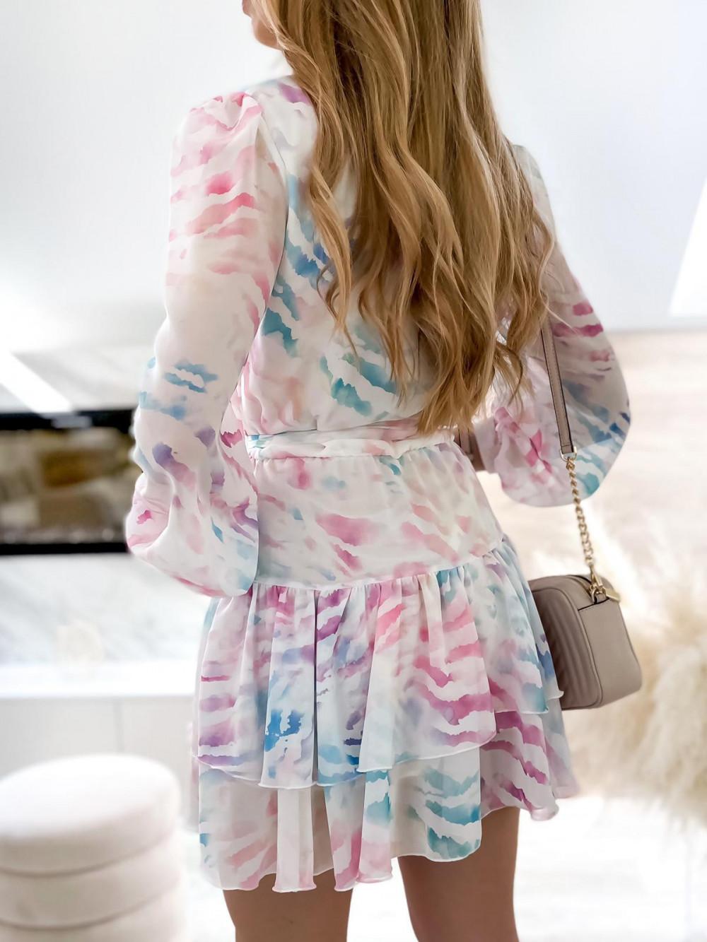 Różowo-niebieska pastelowa zeberkowa sukienka szyfonowa rozkloszowana Virgo 6