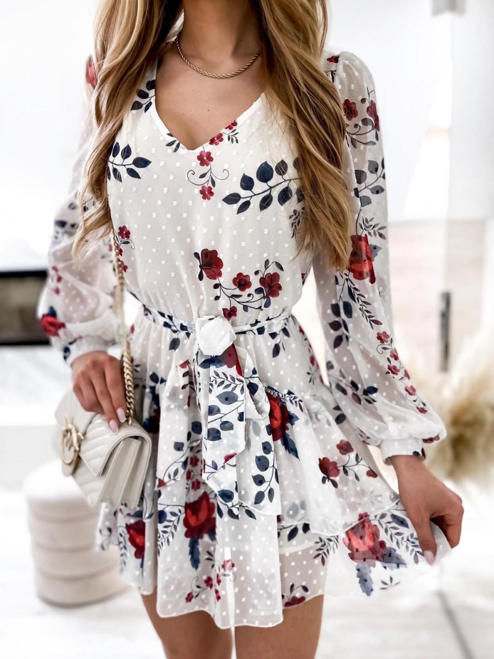 Biała kwiatowa sukienka szyfonowa rozkloszowana Virgo 5
