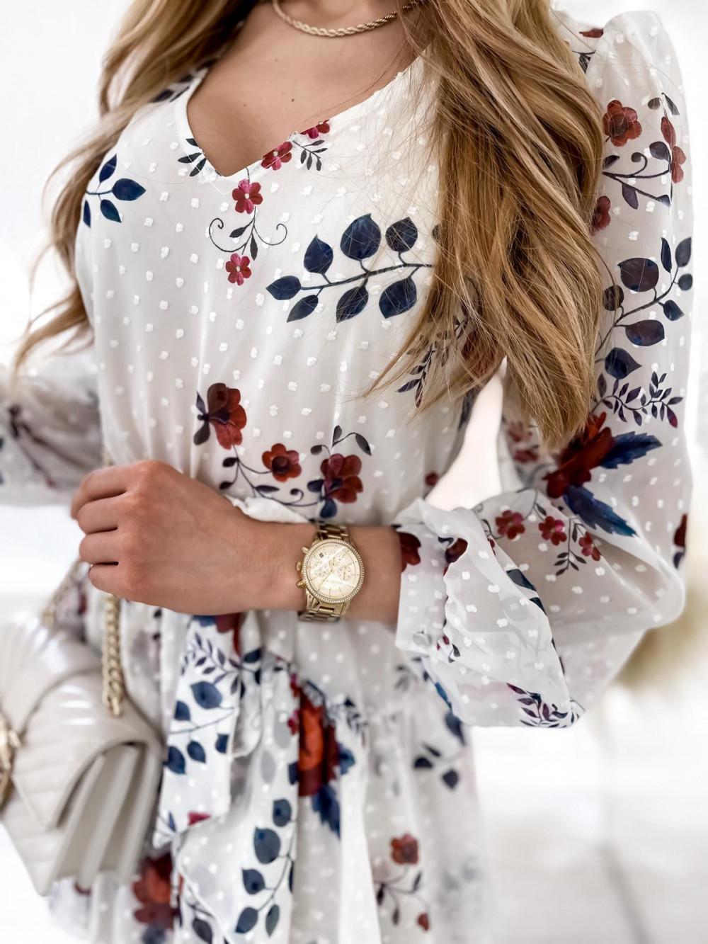 Biała kwiatowa sukienka szyfonowa rozkloszowana Virgo 6