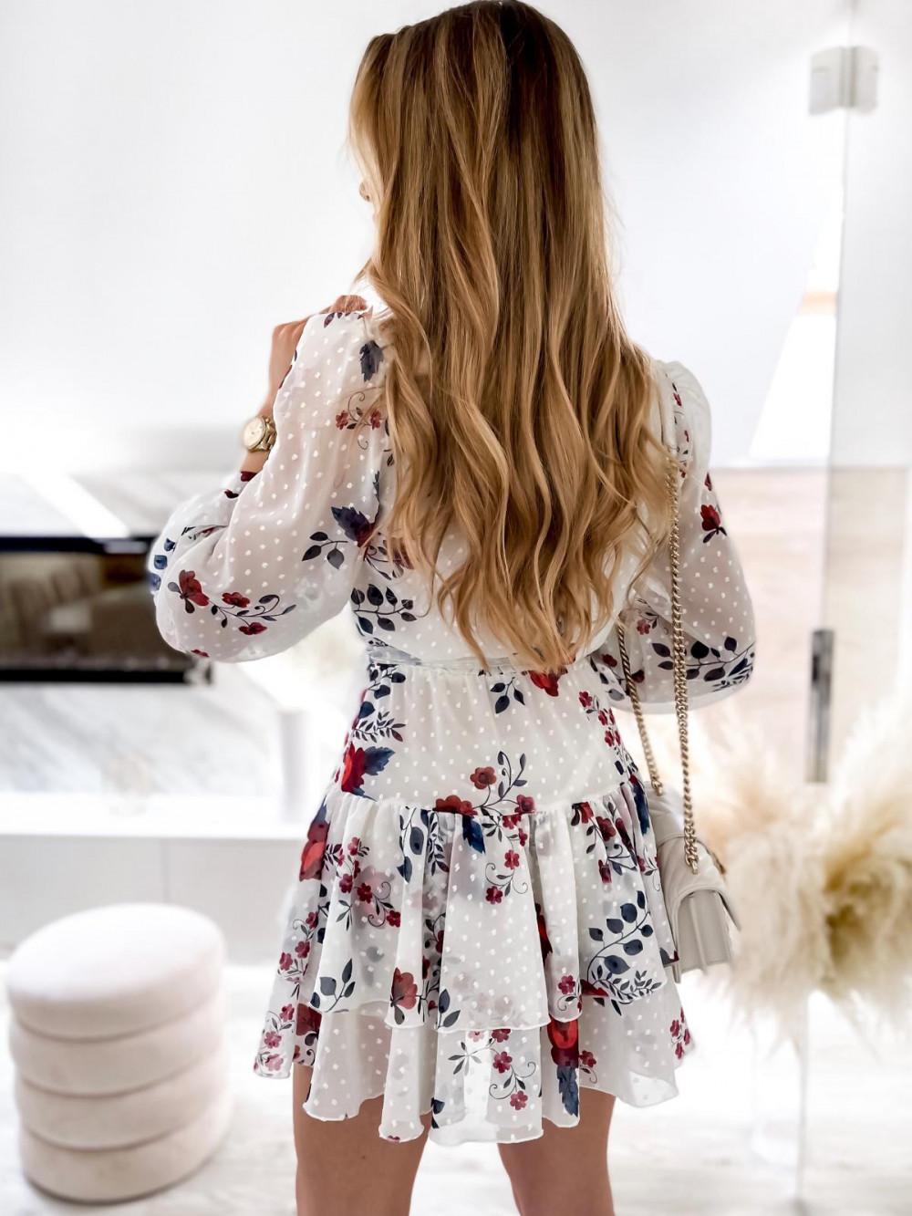 Biała kwiatowa sukienka szyfonowa rozkloszowana Virgo 7