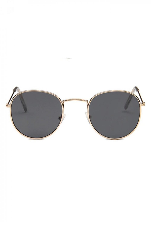 Czarne okulary przeciwsłoneczne z złotą oprawką okrągłe Summer 1