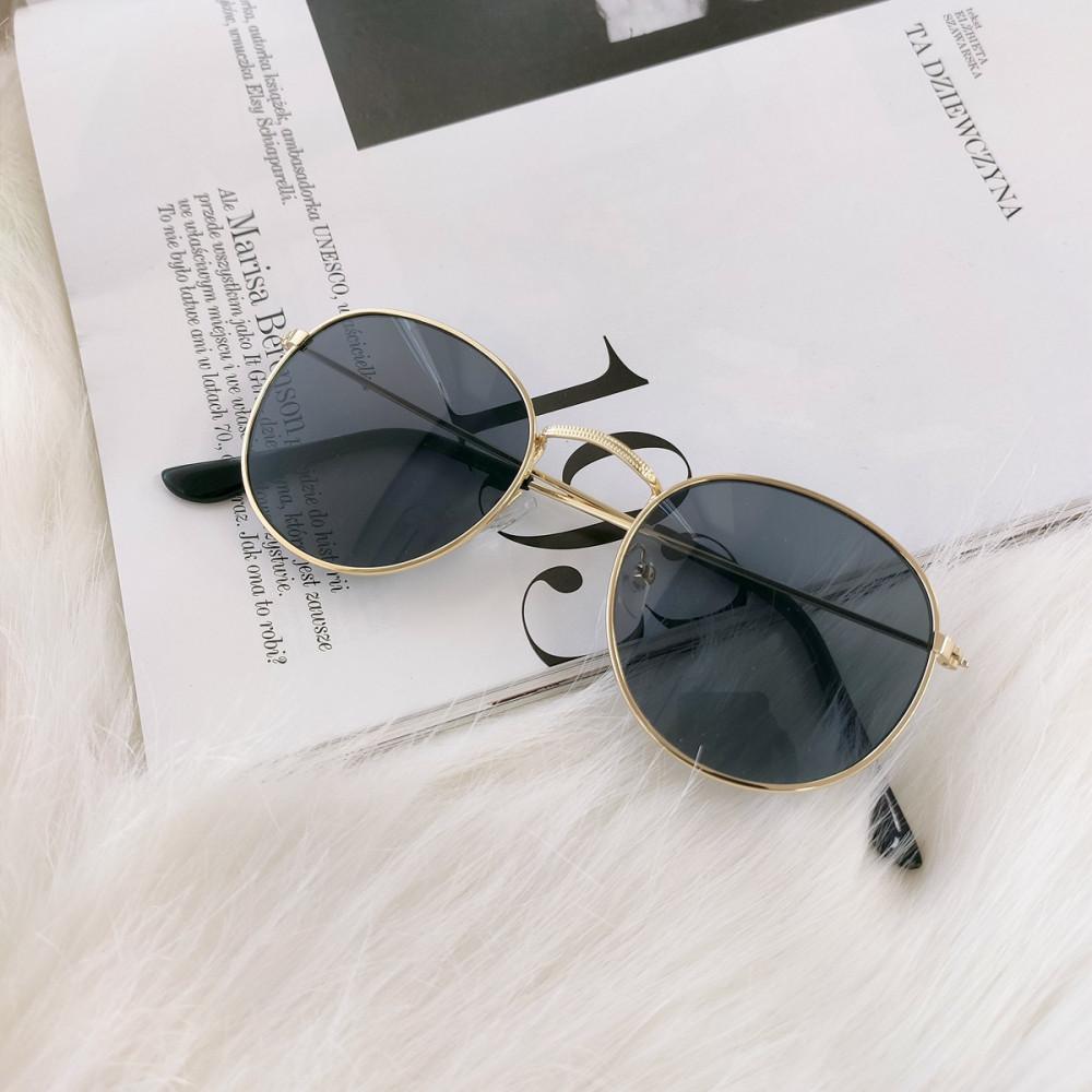 Czarne okulary przeciwsłoneczne z złotą oprawką okrągłe Summer 3