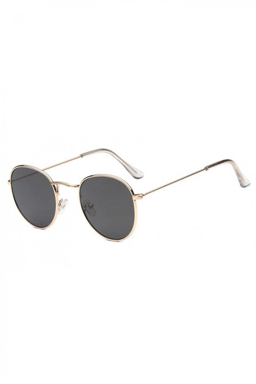 Czarne okulary przeciwsłoneczne z złotą oprawką okrągłe Summer 2