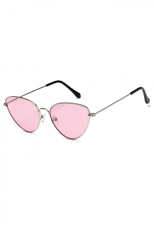 Różowe okulary przeciwsłoneczne z złotą oprawką kocie oko Leah 2