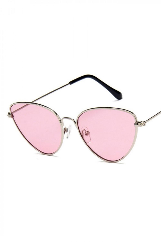 Różowe okulary przeciwsłoneczne z złotą oprawką kocie oko Leah 1