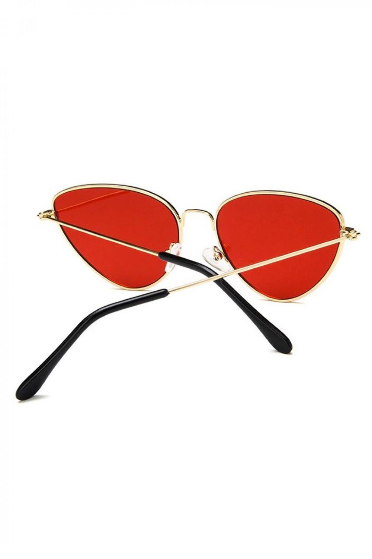 Czerwone okulary przeciwsłoneczne z złotą oprawką kocie oko Leah 3