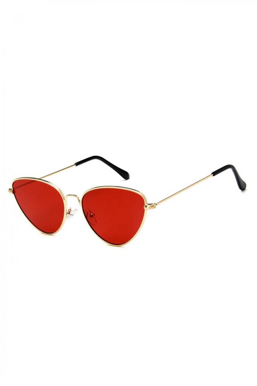 Czerwone okulary przeciwsłoneczne z złotą oprawką kocie oko Leah 2