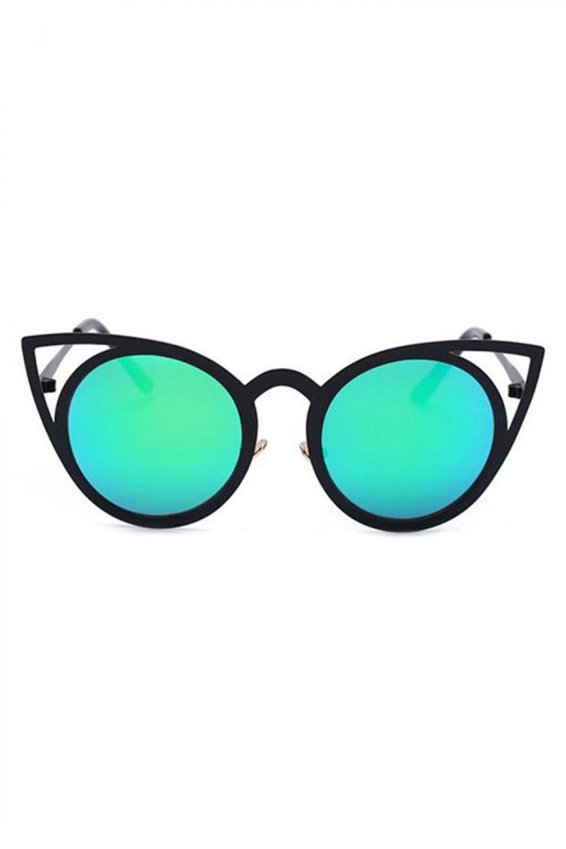 Turkusowe okulary przeciwsłoneczne z czarną oprawką kocie oko Sheins 1