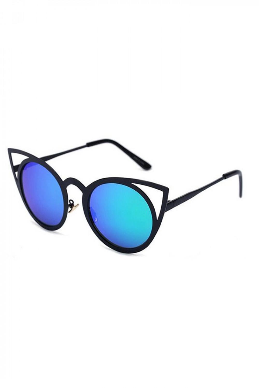 Turkusowe okulary przeciwsłoneczne z czarną oprawką kocie oko Sheins 2