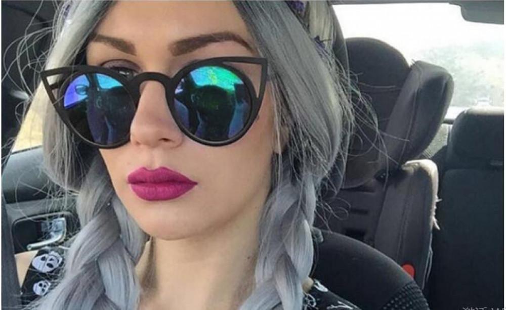 Turkusowe okulary przeciwsłoneczne z czarną oprawką kocie oko Sheins 3