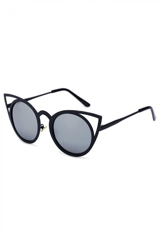 Czarne okulary przeciwsłoneczne z czarną oprawką kocie oko Sheins 2