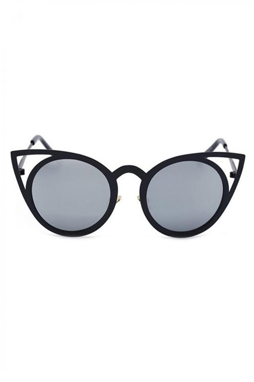 Czarne okulary przeciwsłoneczne z czarną oprawką kocie oko Sheins 1