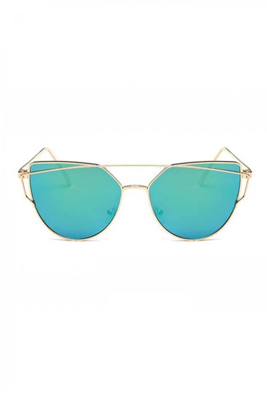 Turkusowe lustrzane okulary przeciwsłoneczne nowoczesne aviatorki Selena 2