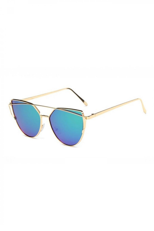 Turkusowe lustrzane okulary przeciwsłoneczne nowoczesne aviatorki Selena 3