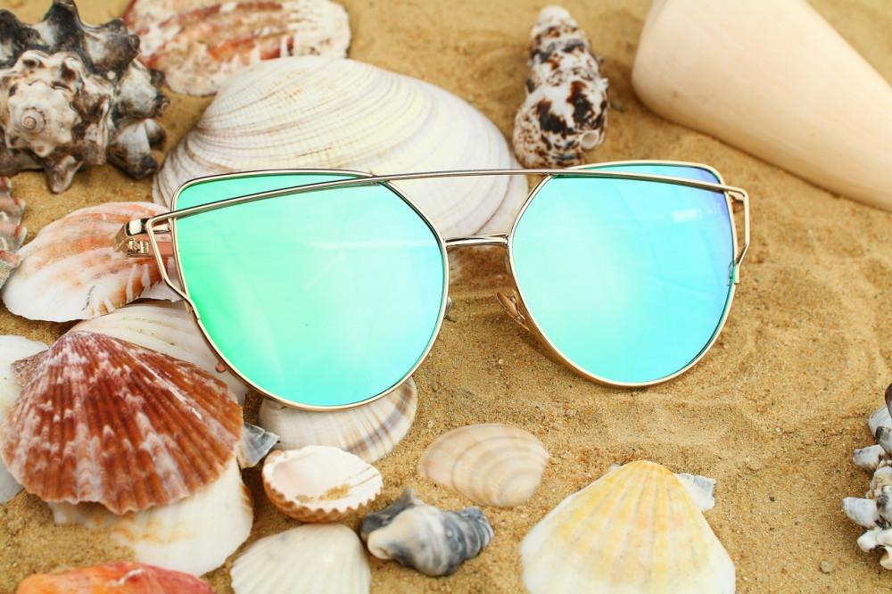 Turkusowe lustrzane okulary przeciwsłoneczne nowoczesne aviatorki Selena 4