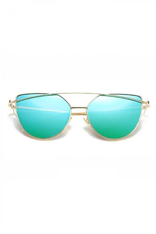 Turkusowe lustrzane okulary przeciwsłoneczne nowoczesne aviatorki Selena 1