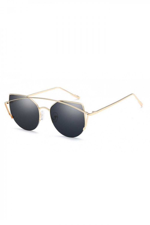 Czarne lustrzane okulary przeciwsłoneczne aviatorki kocie oko Stars 2