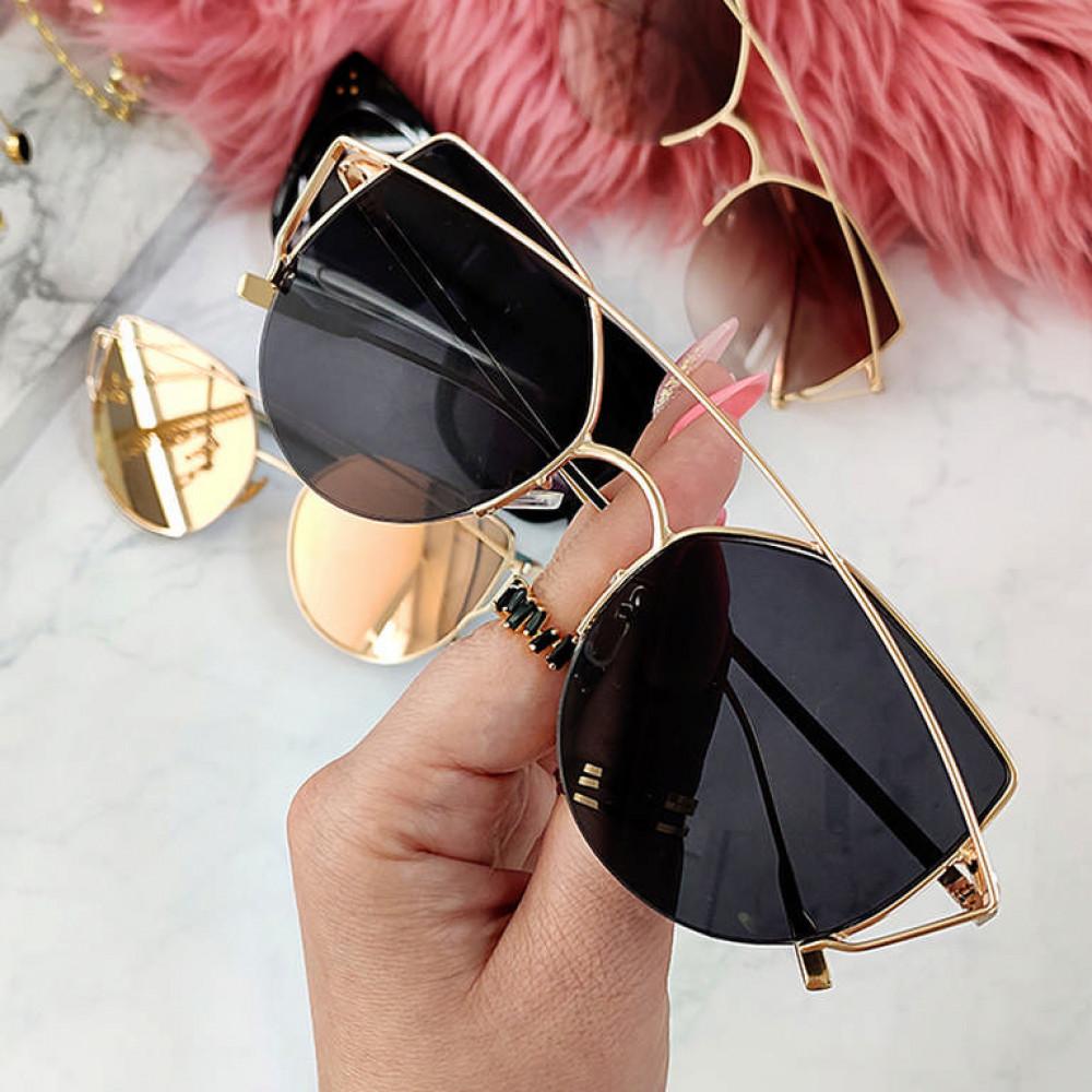 Czarne lustrzane okulary przeciwsłoneczne aviatorki kocie oko Stars 3