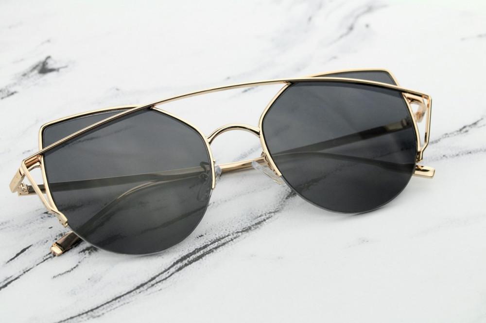 Czarne lustrzane okulary przeciwsłoneczne aviatorki kocie oko Stars 4