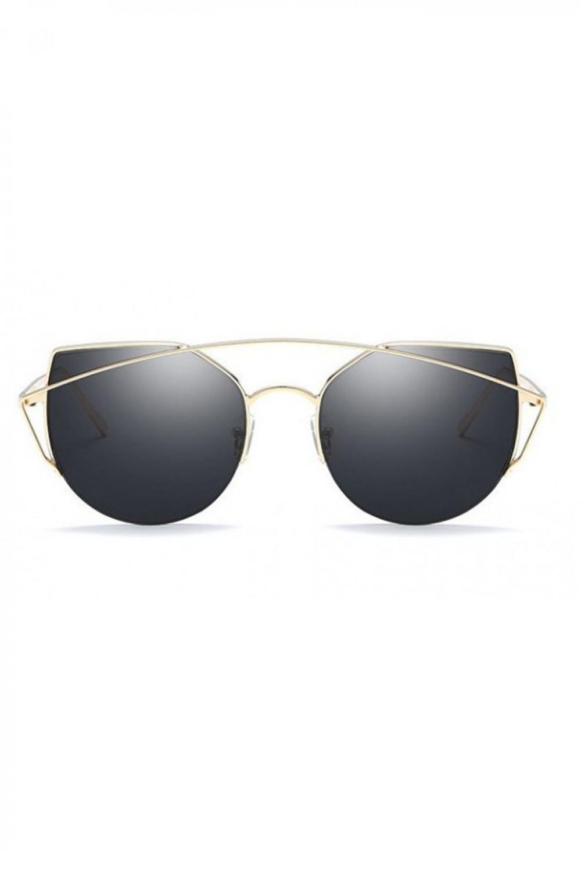 Czarne lustrzane okulary przeciwsłoneczne aviatorki kocie oko Stars 1