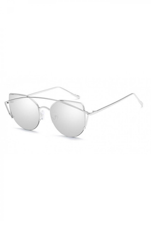 Srebrne lustrzane okulary przeciwsłoneczne aviatorki kocie oko Stars 2