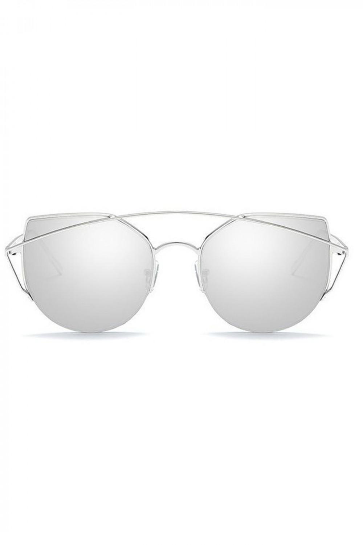 Srebrne lustrzane okulary przeciwsłoneczne aviatorki kocie oko Stars 1