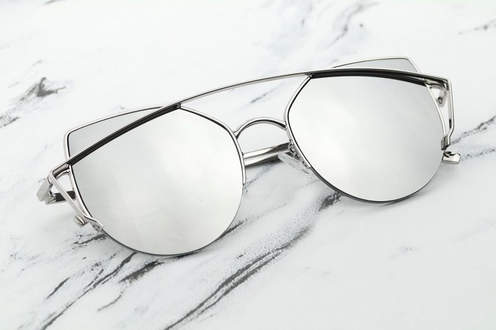 Srebrne lustrzane okulary przeciwsłoneczne aviatorki kocie oko Stars 3