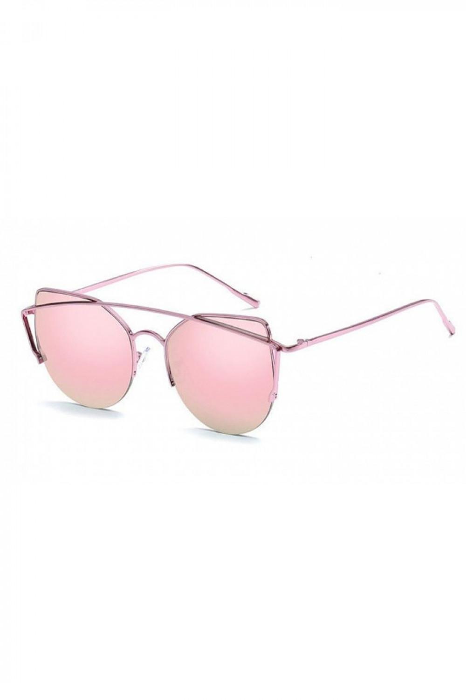 Różowe lustrzane okulary przeciwsłoneczne aviatorki kocie oko Stars 2