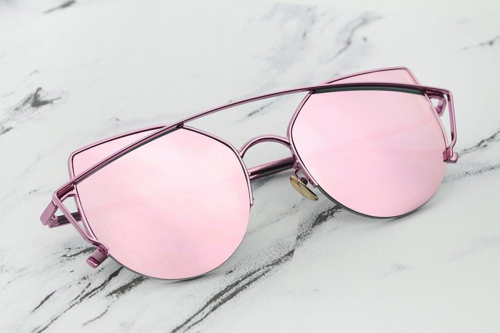 Różowe lustrzane okulary przeciwsłoneczne aviatorki kocie oko Stars 3