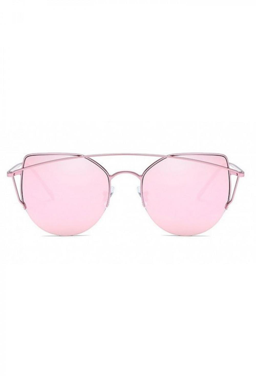 Różowe lustrzane okulary przeciwsłoneczne aviatorki kocie oko Stars 1