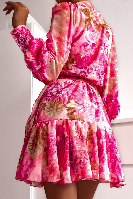 Różowa sukienka szyfonowa w kwiaty Flores 6