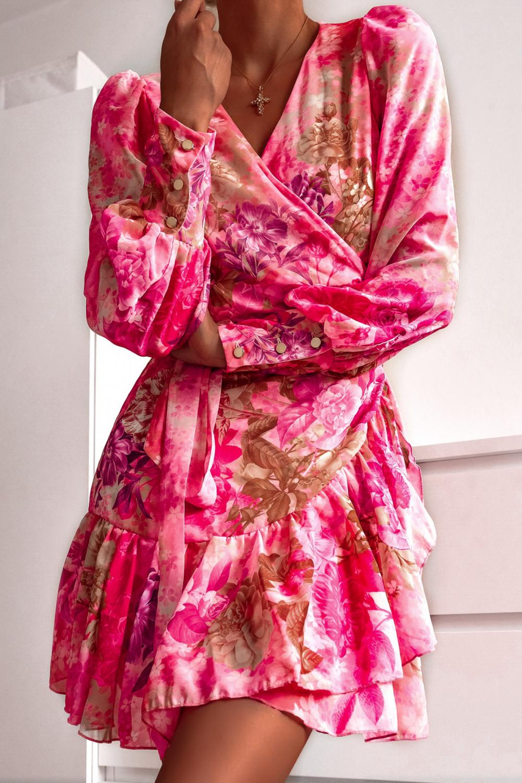 Różowa sukienka szyfonowa w kwiaty Flores 5