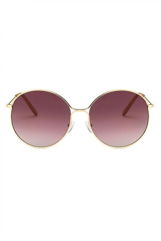 Bordowe okulary przeciwsłoneczne okrągłe z złotą oprawką Classy 1