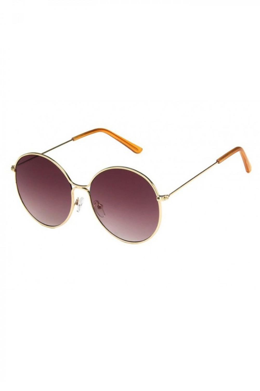 Bordowe okulary przeciwsłoneczne okrągłe z złotą oprawką Classy 2