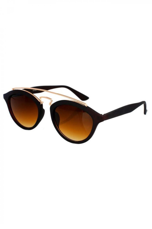 Brązowe okulary przeciwsłoneczne z złotym elementem kocie oko Farona 2