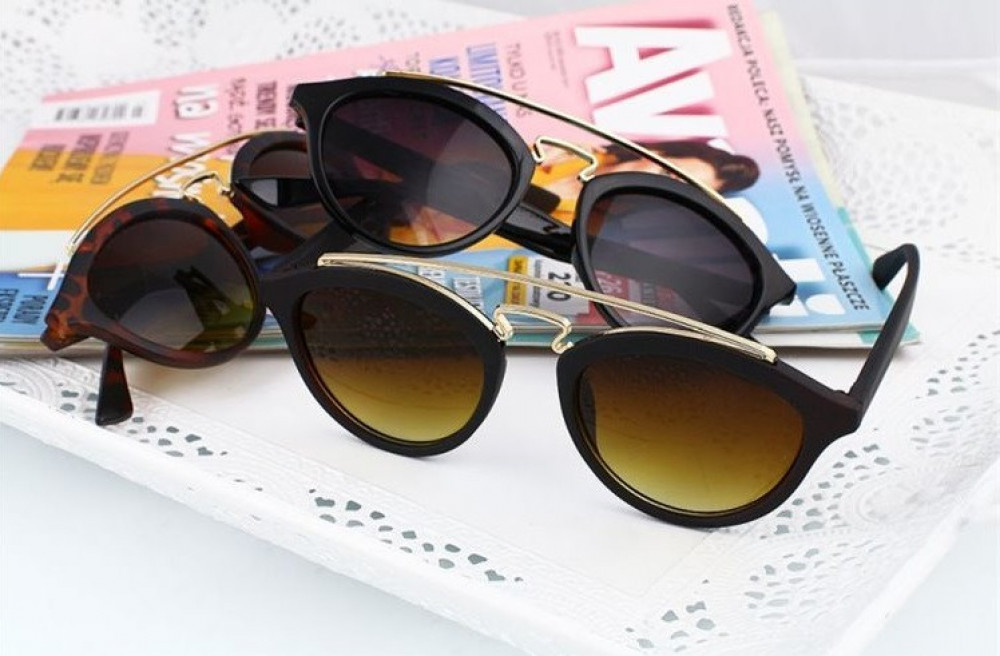 Brązowe okulary przeciwsłoneczne z złotym elementem kocie oko Farona 3