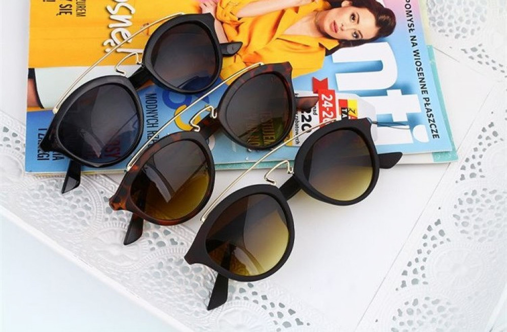 Brązowe okulary przeciwsłoneczne z złotym elementem kocie oko Farona 4