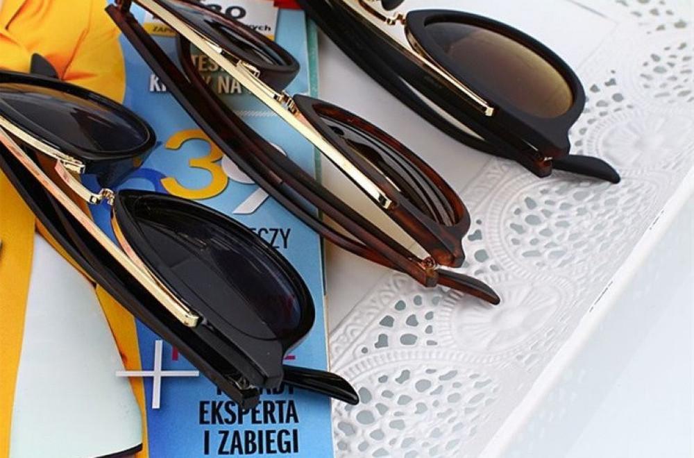 Brązowe okulary przeciwsłoneczne z złotym elementem kocie oko Farona 5
