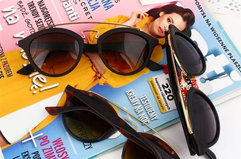 Brązowe okulary przeciwsłoneczne z złotym elementem kocie oko Farona 6