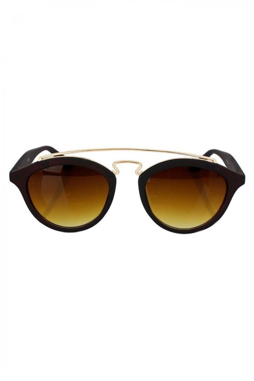 Brązowe okulary przeciwsłoneczne z złotym elementem kocie oko Farona 1