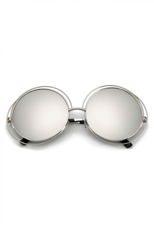 Srebrne lustrzane okulary przeciwsłoneczne okrągłe Spring 1