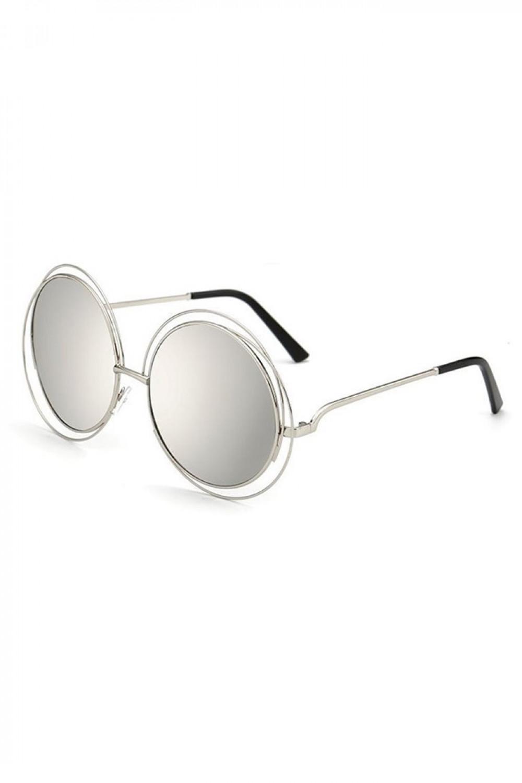 Srebrne lustrzane okulary przeciwsłoneczne okrągłe Spring 2