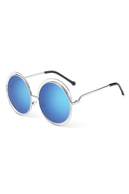 Niebieskie lustrzane okulary przeciwsłoneczne okrągłe Spring 2