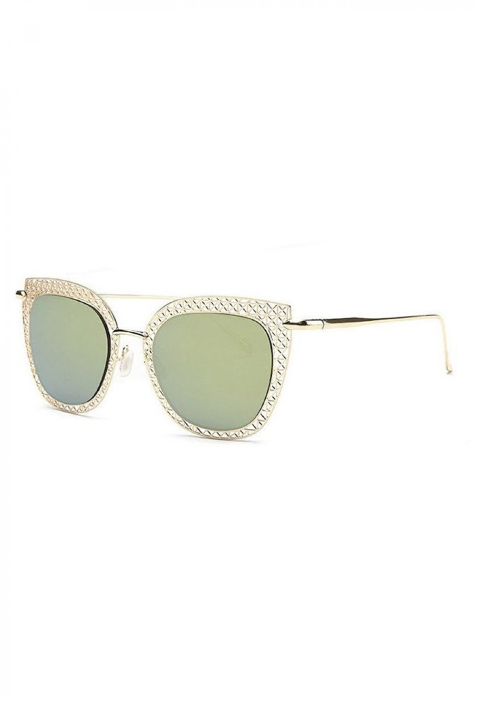Zielono-złote okulary przeciwsłoneczne kocie oko Sirena 2