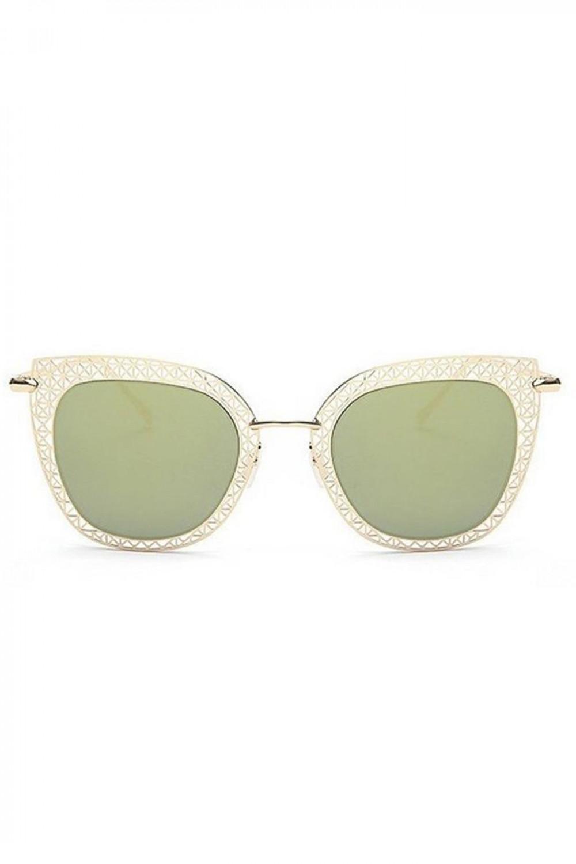 Zielono-złote okulary przeciwsłoneczne kocie oko Sirena 1