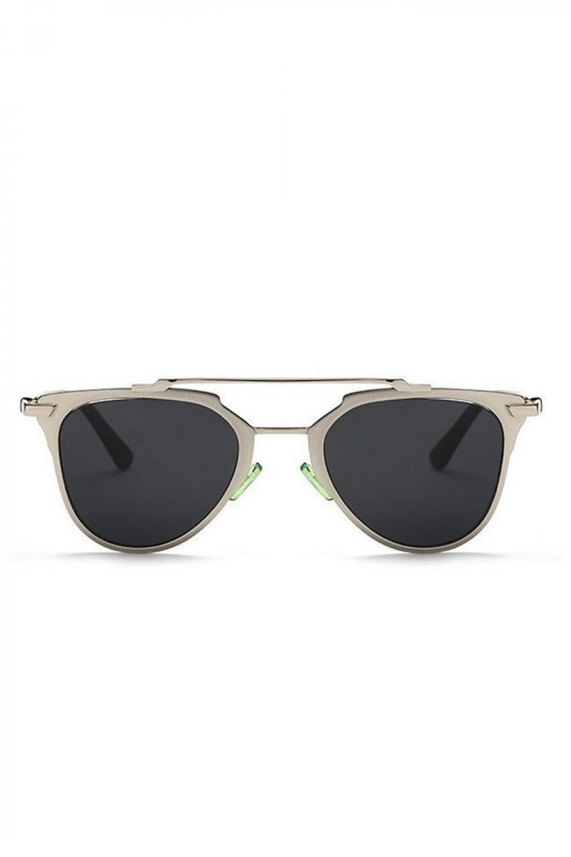 Czarne lustrzane okulary przeciwsłoneczne z srebrną oprawką motylki Pamera 1