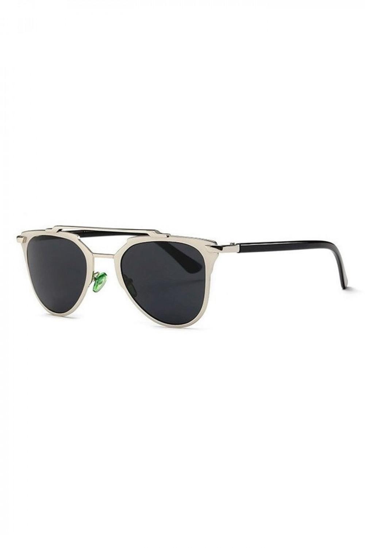 Czarne lustrzane okulary przeciwsłoneczne z srebrną oprawką motylki Pamera 2