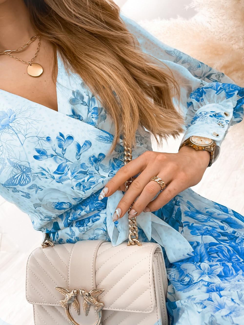Biało-niebieska sukienka szyfonowa w kwiaty Flores 4